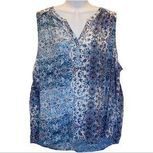 Sonoma Blue Floral Sleeveless Blouse size 2X
